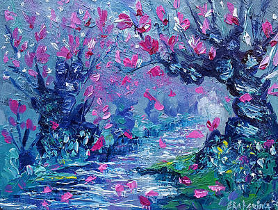 Surreal Landscape Art Pink Flower Tree Painting By Ekaterina Chernova Art Print