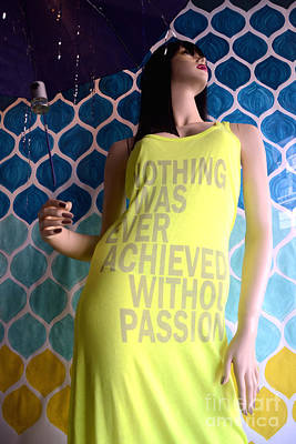Photograph - Surreal Mannequin Female In Yellow Dress - Summer Fashion Photography - Typography Quote by Kathy Fornal