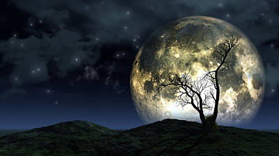 Surreal Moon Background Original by Kirsty Pargeter