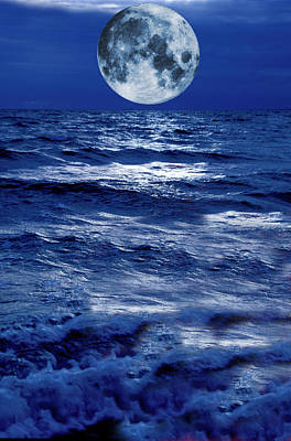 Surreal Moon Rise Over Stormy Waters Art Print