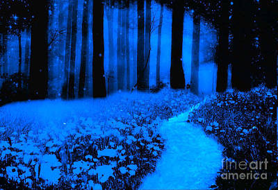 Surreal Moonlight Blue Haunting Dark Fantasy Nature Path Woodlands Art Print by Kathy Fornal