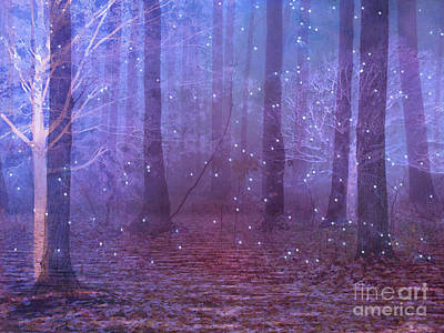 Surreal Nature Fantasy Dreamy Purple Woodlands And Stars - Sparkling Twinkling Stars Purple Trees Art Print by Kathy Fornal