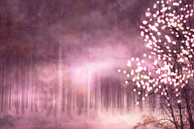 Photograph - Surreal Nature Trees Sparkling Twinkling Pink Woodlands Trees by Kathy Fornal