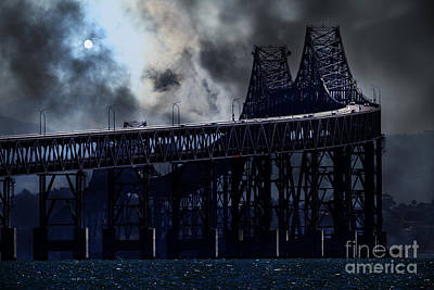 Surreal Night At The Bay Area Richmond-san Rafael Bridge - 7d18536 Art Print