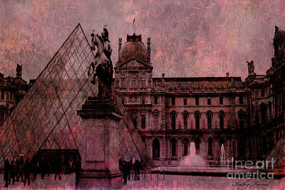 Photograph - Surreal Paris Louvre Museum Architecture Pyramid by Kathy Fornal