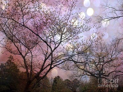 Surreal Purple Fantasy Trees Ethereal Nature Art Print by Kathy Fornal