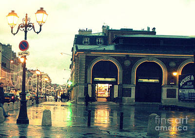 Surreal Rainy Night Streets Of Versailles France  Print by Kathy Fornal