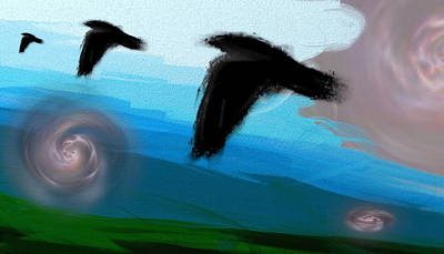 Unreal Digital Art - Surreal Skies by Lenore Senior