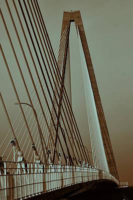 Georgetown Digital Art - Surreal Split Toned Charleston Cable Bridge by Kathy Clark