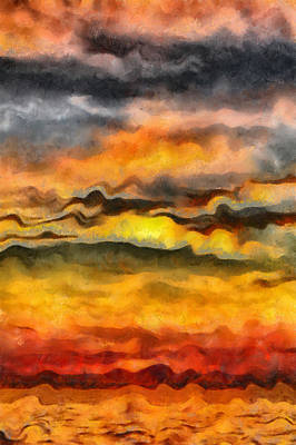 Surrealism Painting - Surreal Sunset by Michelle Calkins