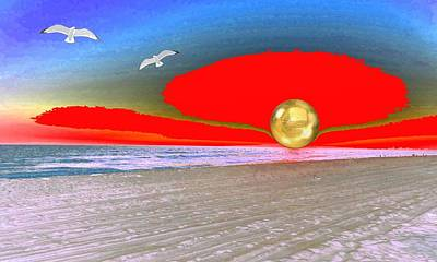 Surrealism Royalty-Free and Rights-Managed Images - Surreal Sunset by Romuald  Henry Wasielewski
