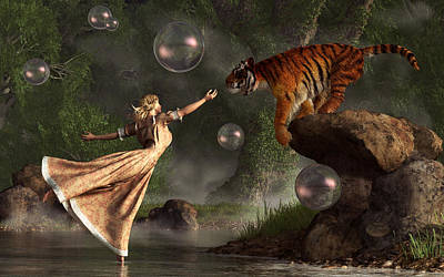 Surreal Tiger Bubble Waterdancer Dream Art Print