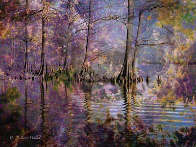 Print featuring the digital art Surrealistic Morning Reflections by J Larry Walker