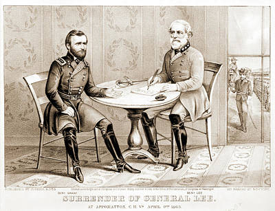 General Lee Drawing - Surrender Of General Lee - At Appomattox by Litz Collection