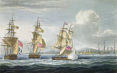 Canon Drawing - Surrender Of The Fort Of Tamatave by Thomas Whitcombe