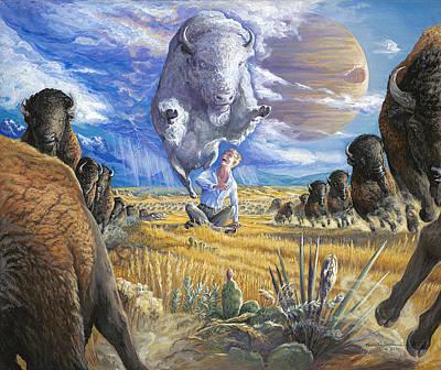 Surrender To The White Buffalo Art Print by Brenda Ferrimani