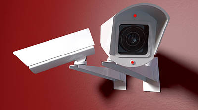 Surveillance Cameras On Red Print by Allan Swart