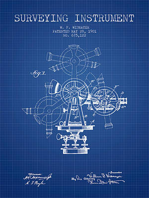 Surveying Instrument Patent From 1901 - Blueprint Art Print by Aged Pixel