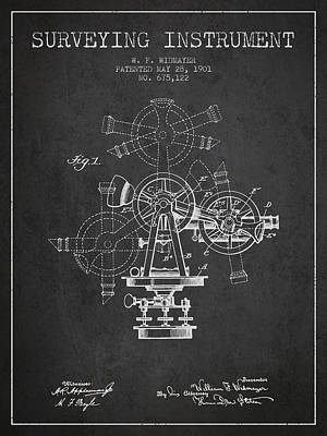 Surveying Drawing - Surveying Instrument Patent From 1901 - Charcoal by Aged Pixel
