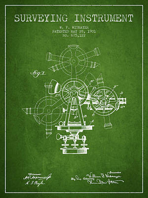 Surveying Drawing - Surveying Instrument Patent From 1901 - Green by Aged Pixel