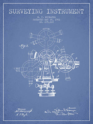 Surveying Instrument Patent From 1901 - Light Blue Art Print by Aged Pixel