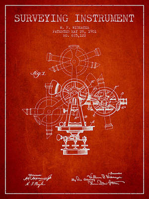 Surveying Drawing - Surveying Instrument Patent From 1901 - Red by Aged Pixel