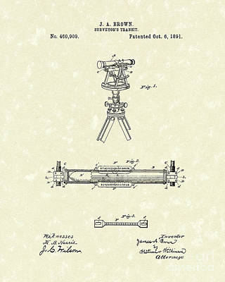 Drawing - Surveyor's Transit 1891 Patent Art by Prior Art Design