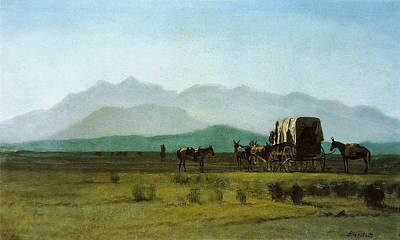 Surveyors Wagon In The Rockies Art Print
