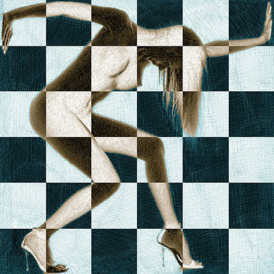 Painting - Survive Nude Woman Checkered 1 by Tony Rubino