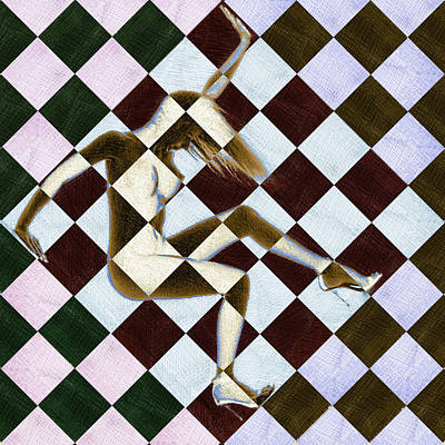 Painting - Survive Nude Woman Checkered 3 by Tony Rubino