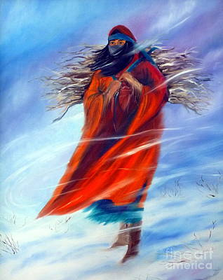 Landmarks Painting Royalty Free Images - Surviving Another Day Woman Female Figure Native American Winter Snowing Jackie Carpenter Royalty-Free Image by Jackie Carpenter