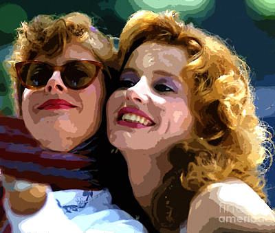 Susan Sarandon And Geena Davies Alias Thelma And Louis - Watercolor Art Print