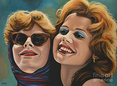 Hair Painting - Susan Sarandon And Geena Davies Alias Thelma And Louise by Paul Meijering