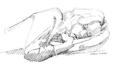 Drawing - Susan Sleeping by Mark Lunde