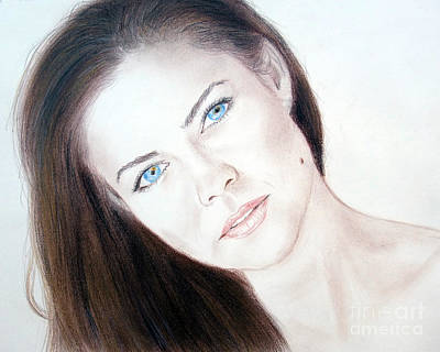 Beauty Mark Mixed Media - Actress And Model Susan Ward Blue Eyed Beauty With A Mole by Jim Fitzpatrick
