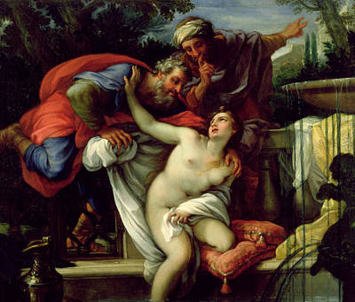 Susanna And The Elders Art Print by Giuseppe Bartolomeo Chiari