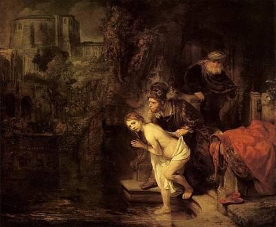 Netherlands Painting - Susanna And The Elders by Rembrandt van Rijn