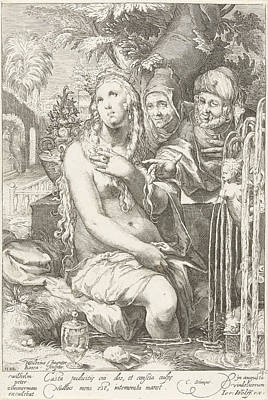Susanna Bathes And Is Threatened By Two Elders Art Print by Artokoloro