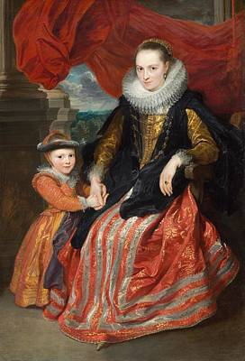 Netherlands Painting - Susanna Fourment And Her Daughter by Anthony van Dyck