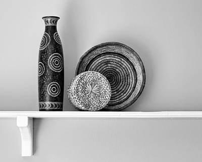 Photograph - Susan's Shelf - Still Life - Black And White by Nikolyn McDonald