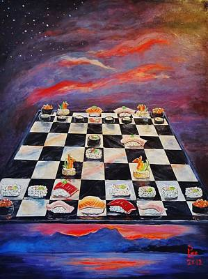 Chess Pieces Painting - Sushi Chess by Shannon Lee