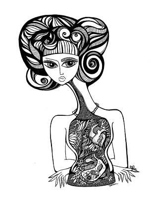 Human Internal Organ Drawing - Sushi For One by Jody Pham