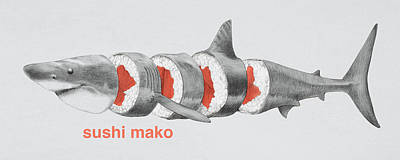 Hammerhead Shark Drawing - Sushi Mako by Eric Fan