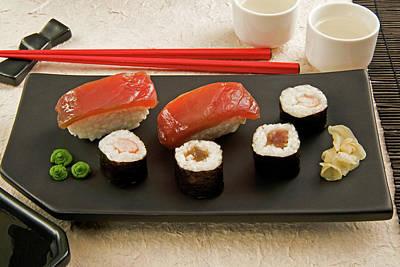 Sushi (nigiri With Salmon And Norimaki Art Print by Nico Tondini