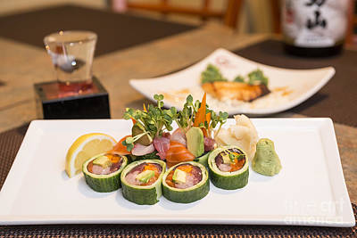 Upscale Photograph - Sushi Roll - Delicious Sushi At A Modern Japanese Restaurant. by Jamie Pham