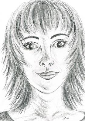 Art Print featuring the drawing Portrait Stunning by Teresa White