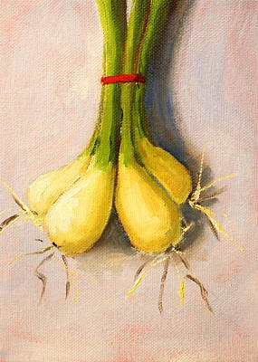 Scallion Painting - Suspended Onion Still Life by Nancy Merkle
