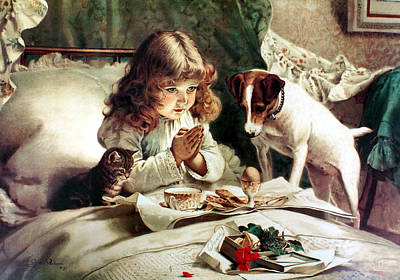Puppies Digital Art - Suspense by Charles Burton Barber