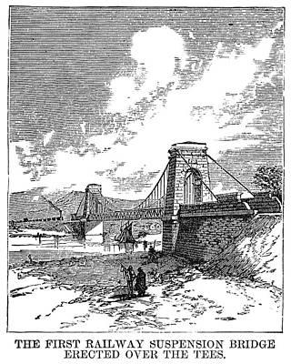 Stockton Painting - Suspension Bridge, 1830 by Granger