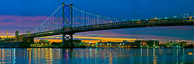 Ben Franklin Photograph - Suspension Bridge Across A River, Ben by Panoramic Images